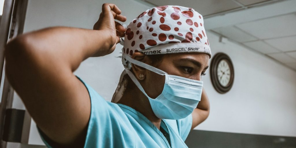 a doctor wearing a protective mask